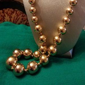 Cascading Gold Ball Bead Necklace